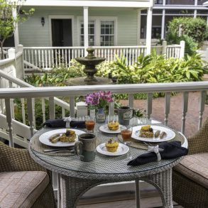 Breakfast on the porch at The Addison on Amelia Island