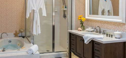 Room 2 at The Addison on Amelia Island - bathroom with shower and soaking tub