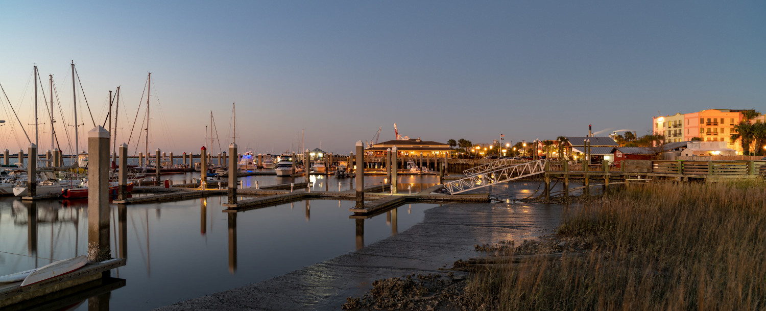 sunset over the Amelia Island harbor