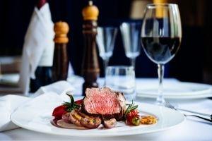 Steak and wine dinner