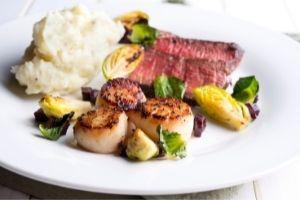 Steak and scallops dinner
