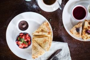 Crepes and coffee breakfast.