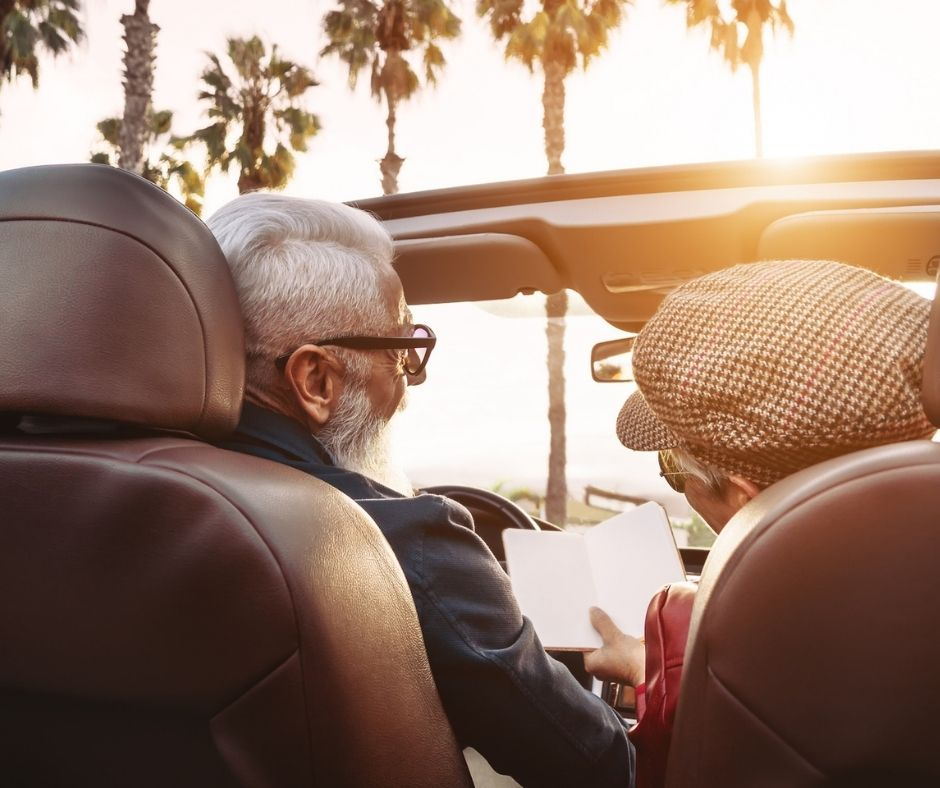 older couple on a road trip
